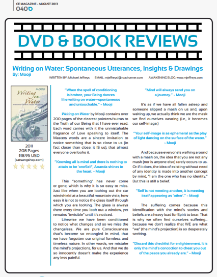 Michael Jeffreys review of Mooji's Writing on Water page 1 of 2