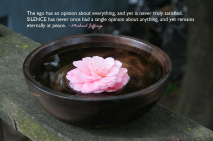 mj quote silence no opinion pink flower in water bowl