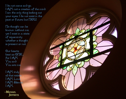 mj I AM stain glass window pic quote