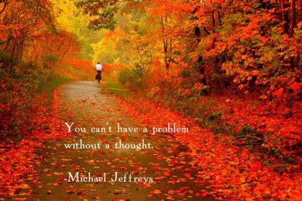 mj pic quote THOUGHT - bike on fall leaves road