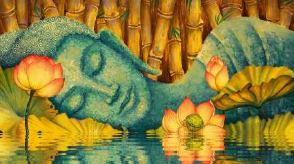 peaceful buddha sleeping