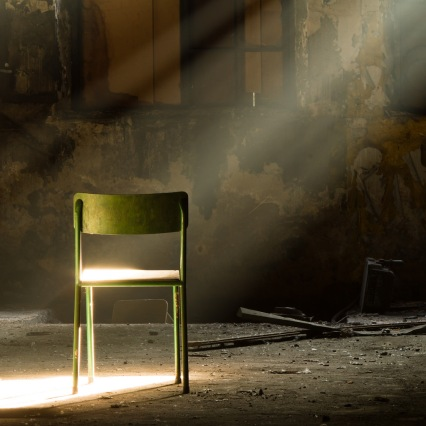 light shining on chair