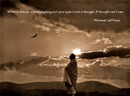 mj looking out your eyes monk watching bird pic quote