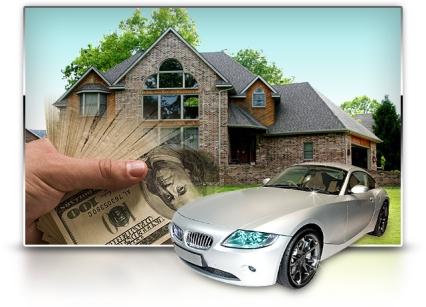 money, car, house