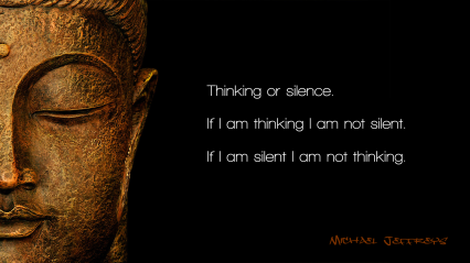 mj thinking or silence buddha pic quote