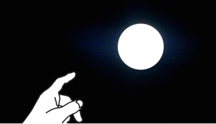 finger pointing to moon