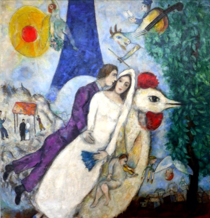 marc chagall married couple eiffel tower